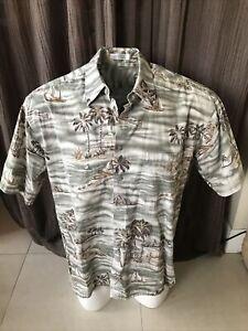 Vintage Pierre Cardin Mens L Hawaiian Aloha Shirt Island Surfboard Tropical Grn