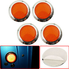 4x Orange Reflective Car Motorcycle Sticker Reflector Round Chrome Self Adhesive