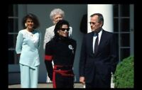 George H W Bush with Michael Jackson PHOTO, Pic Art Print, President White House