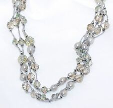 Long Multi Strand Pearl Crystal Necklace Silver Gray