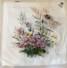 Vintage Never Used KREIER Floral Butterfly Ladies Cotton Handkerchief
