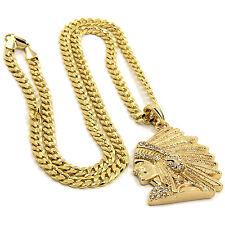 "Mens Gold Plated Hip-Hop Cz Indian Head Face 30"" Cuban Chain Necklace D819"