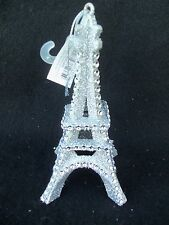 EIFFEL TOWER Silver Glitter Christmas Ornament!  NEW! CLEAR BEADS!  PARIS FRANCE