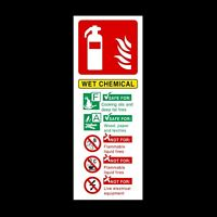 Fire Extinguisher Wet Chemical Fire ID Plastic Sign OR Sticker (FE35)