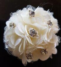 Ivory Diamante Girls 5cm satin & net Flower Hair Clip/brooch.Bridemaids etc