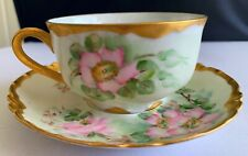 Stunning Very Rare Haviland Limoges Cup & Saucer Pink Roses Floral & Gold