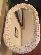 Vintage RARE 1960's  Extra Large Oval white Wicker Mirror chic Shabby