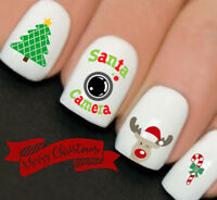 Christmas Santa Cam Rudolf Nail Art Water Transfers Decals Stickers Wraps Y151