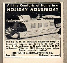 1957 Print Ad Holiday 30' Houseboats Richland Mfg Richland,MO