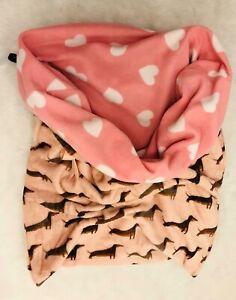 Beautiful Handmade Dachshund Sausage Dog Fabric Pink Snuggle Sack Bed Blanket
