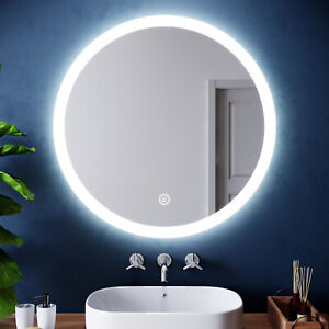 Bathroom LED Mirror Anti-fog Touch Switch Wall Mounted Round 840x840mm