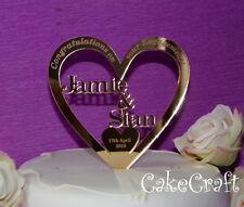 Espejado Corazón Acrílico Boda Personalizada Compromiso toppers para tartas