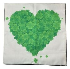 17x17 Saint patick day Pillowcase Baige With Green Heart Print