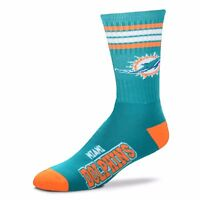 Miami Dolphins For Bare Feet NFL Men's Kid's 4-Stripe Deuce Crew Socks SZ M