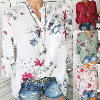 Women Plus Size Chiffon Floral Print AU Long Sleeve Blouse Pullover Tops T Shirt