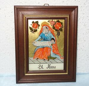 "Hinterglasbild - ""Hl. Anna"" - Sandl Art - Handmalerei - Blattgold"