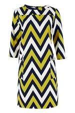 Closet Printed Chevron Stripes Pocket Shift Dress