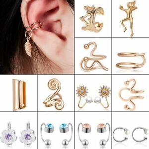 Fashion Punk Crystal Rock Gold Silver Earrings Ear Clip Cuff Wrap On Women Men