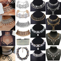 Crystal Necklace Rhinestone Cluster Choker Bib Statement Collar Chunky Fashion