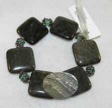 Gold Obsidian with Abalone Antique Button Stretch Bracelet Sterling Silver