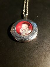 Elvis Presley Photo Cabochon Glass Tibet Silver Locket Pendant Necklace#232