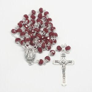 Virgen de la Caridad del Cobre Red Rosary with Jerusalem cross (ROSJCRYCEM-RED)