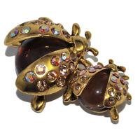 Broche fantaisie originale coccinelle couleur or résine marron cristal bijou
