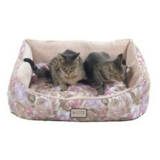 ARMARKAT SOFT VELVET BOLSTER CAT/DOG BED~PINK & APRICOT FLORAL~27 X 22 X 8 ~NEW