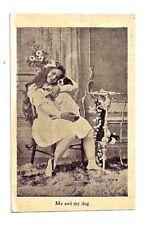 1908 Postcard ME AND MY DOG Girl Omaha Nebraska vintage antique photo Fischer