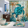 4Pcs Sea Turtles Non Slip Toilet Cover Rugs Mat Set Bath Bathroom Shower Curtain