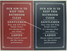 New Novelty Funny Tin Wall Sign Our Aim is to Keep This Bathroom Clean 2 Styles
