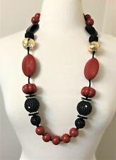 ANGELA CAPUTI Red, Black Resin & Gold Leaf Over Lucite Beads Necklace