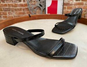 Marc Fisher Black Croco Embossed Heeled Slide Sandals Caylon New