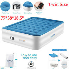 2020 Comfort Pillow Rest Inflatable Air Mattress Bed with Built-In Pump Twin US