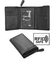 Prime Hide Verona Woman's Tri-Fold Black Leather Purse Wallet RFID Blocking