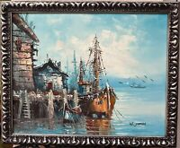 Original oil painting nautical seascape on canvas signed W. JONES framed 16x20