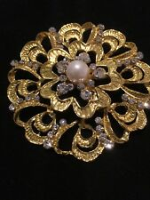 Gold Played Crystal Brooch Wedding Xmas Gift Stockings Uk Seller Auction Only Costume Jewellery 1