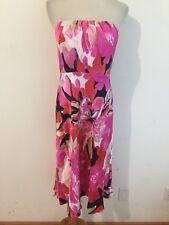 Banana Republic Silk Strapless Dress Fuchsia Red Pink Beige Black Floral Size 4