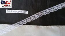 "10 y WHITE floyal narrow EDGE BRIDAL doll lace trim 1/2""  L2-11 SHIP FROM USA"