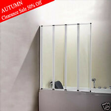 4-Fold Folding Sliver Matted Shower Bath Screen Glass Door Panel 900x1400mm