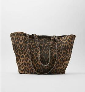 Zara  Animal Print Fabric Tote Bag  NEW WITH TAGS