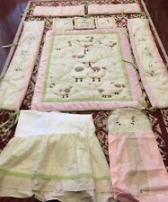 KIDSLINE BABY GIRL NURSERY CRIB 11 PCS BEDDING SET QUILT BUMPER SKIRT WALL DECOR
