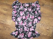 NEW BEAUTIFUL PRIMARK BLACK AND CERISE PINK  FLORAL TOP SIZE 10