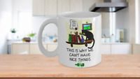 Cat Silhouette Mug-Funny Microwaveable Coffee Cup for Kitty Kitten Lovers-Owners