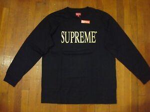 Supreme FW16 Gold Logo Long Sleeve Tee/ Extra Large/ Black & Gold