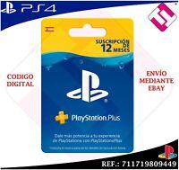 TARJETA 12 MESES SUSCRIPCION PLAYSTATION PSN PS3 PS4 PS VITA CODIGO ENVIADO EBAY