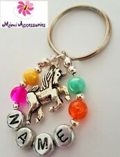 personalised keyring unicorn rainbow charm gift present part bag loot car keys