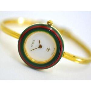 Authentic Gucci Watch REGULAR GOLD Ladies Interchangeable Bezels 1100L 11/12.2