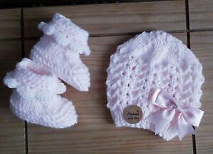Pink/handgefertigter Doppel Strick Baby Set Mütze und Booties 0-3 ALLINONE