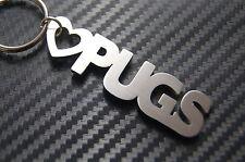 LOVE PUGS Pug Dog Lover Keyring Keychain Key Fob Bespoke Stainless Steel Gift